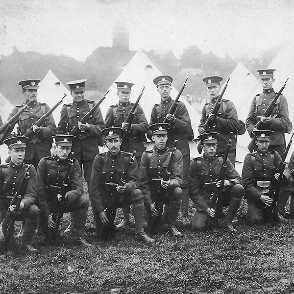 Soldiers from Toronto's Queen's Own Rifles, stationed  in England before the start of the First World War.